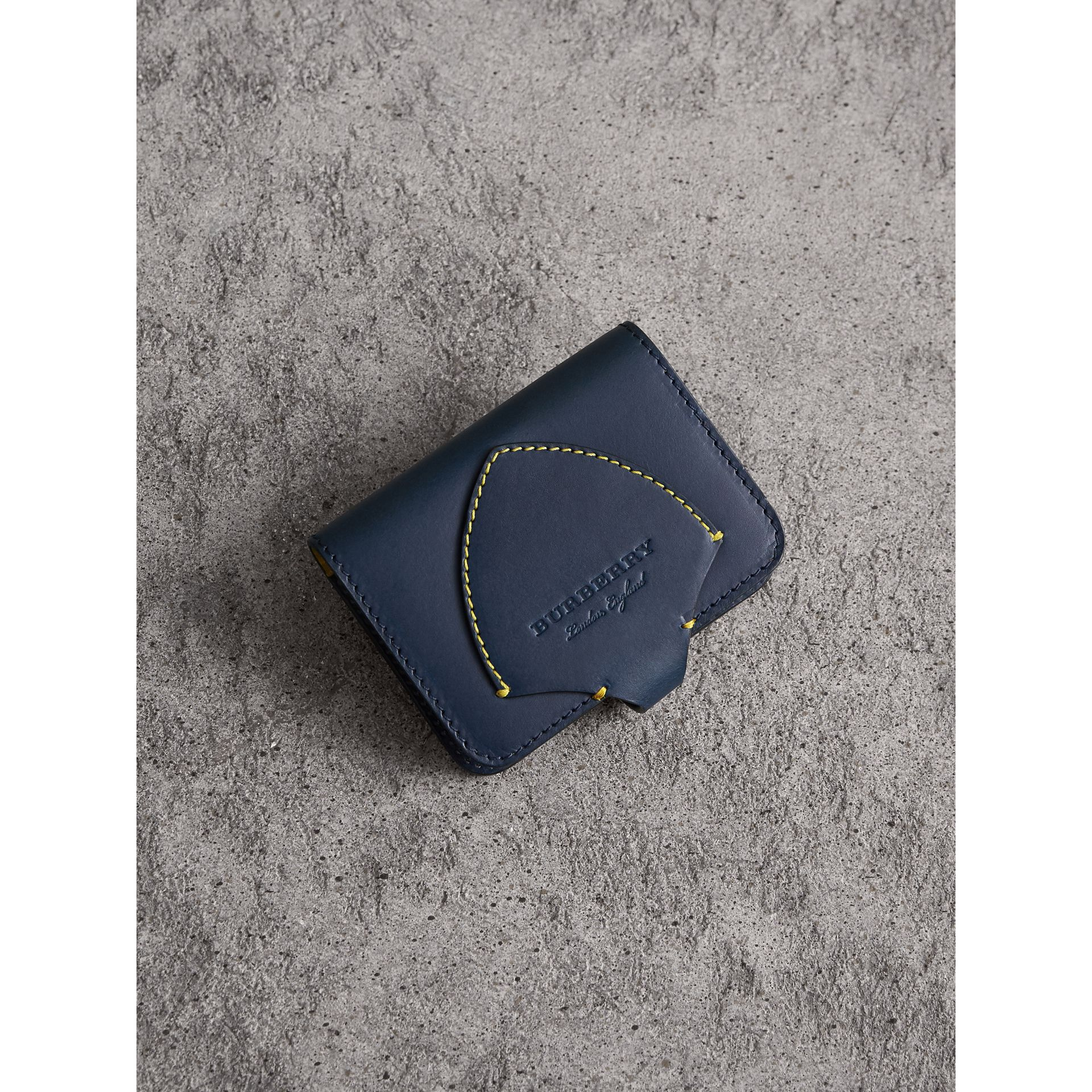 Equestrian Shield Leather Card Case in Mid Indigo | Burberry Australia - gallery image 1