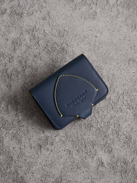 Equestrian Shield Leather Card Case in Mid Indigo