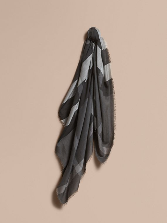 Large Lightweight Check Silk Modal Wool Square Scarf in Mid Grey | Burberry
