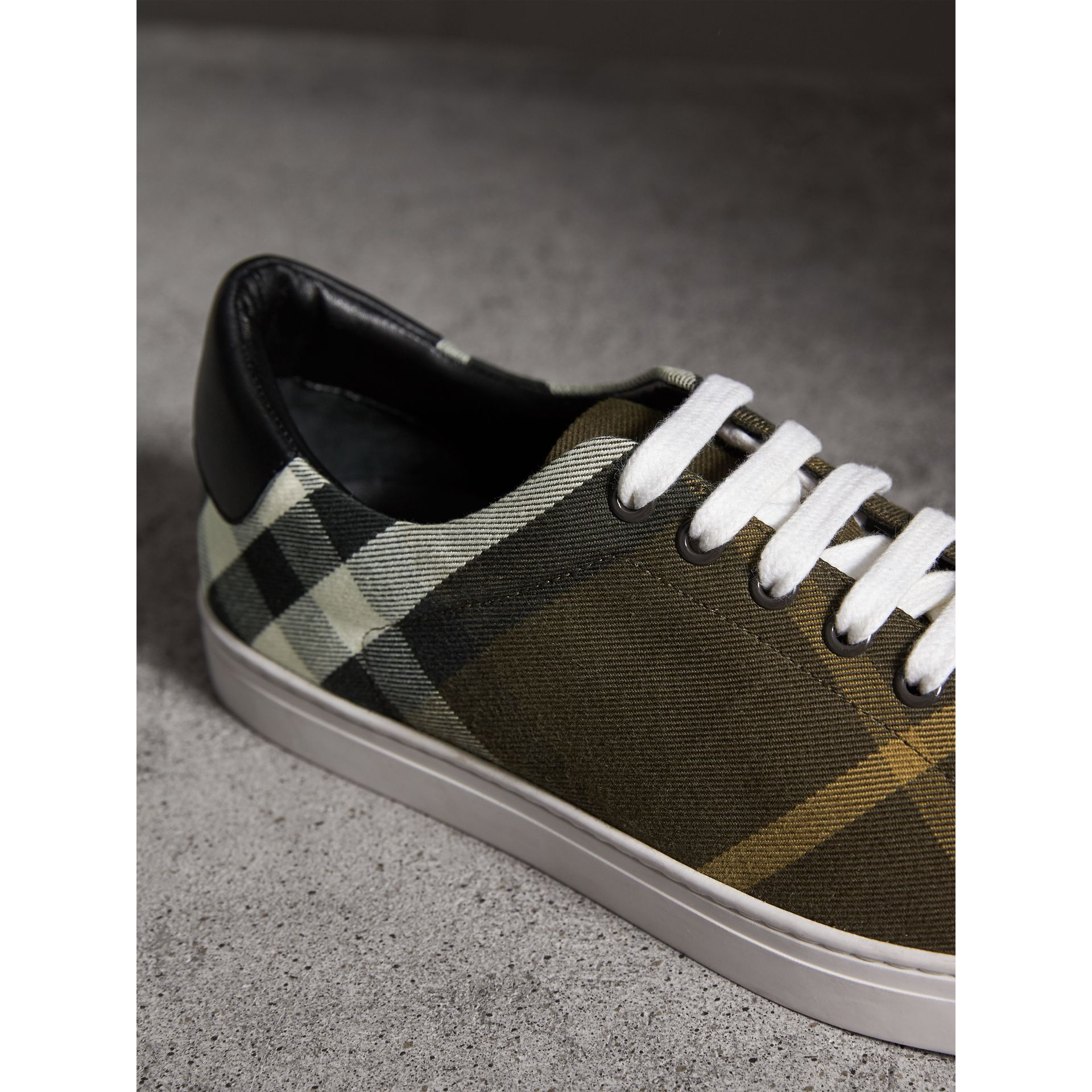 Overdyed House Check Cotton Trainers in Dark Military Green/black - Men | Burberry United Kingdom - gallery image 2