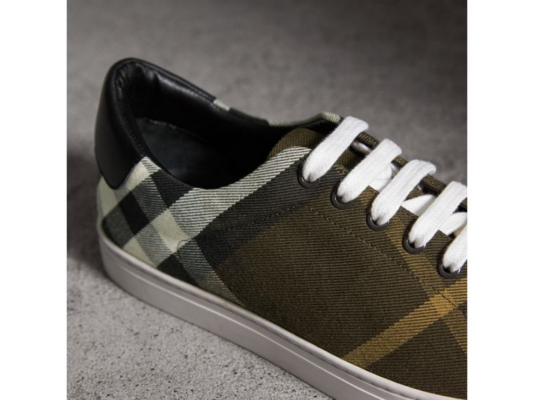 Overdyed House Check Cotton Trainers in Dark Military Green/black - Men | Burberry - cell image 1