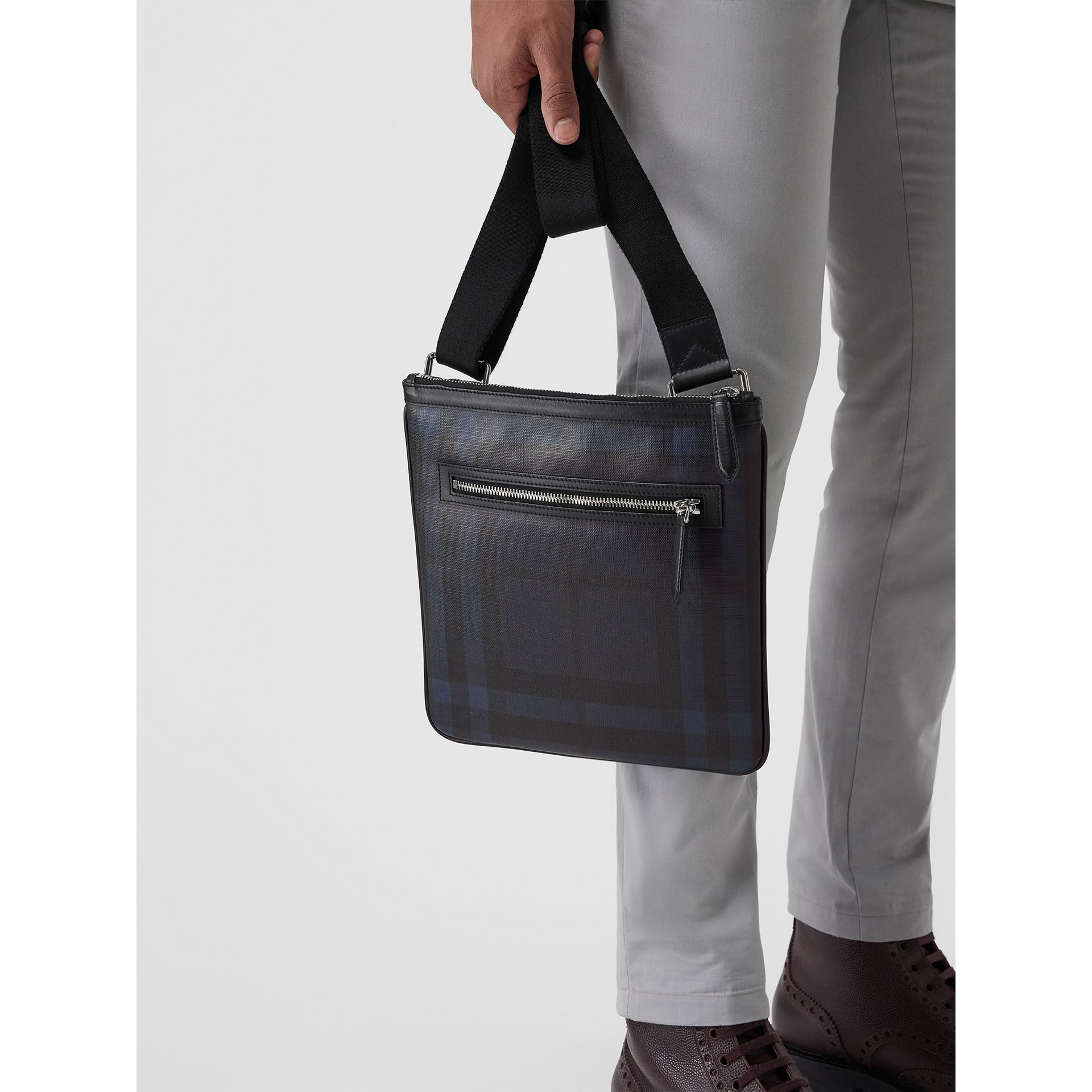 Leather Trim London Check Crossbody Bag in Navy/black - Men | Burberry - gallery image 5