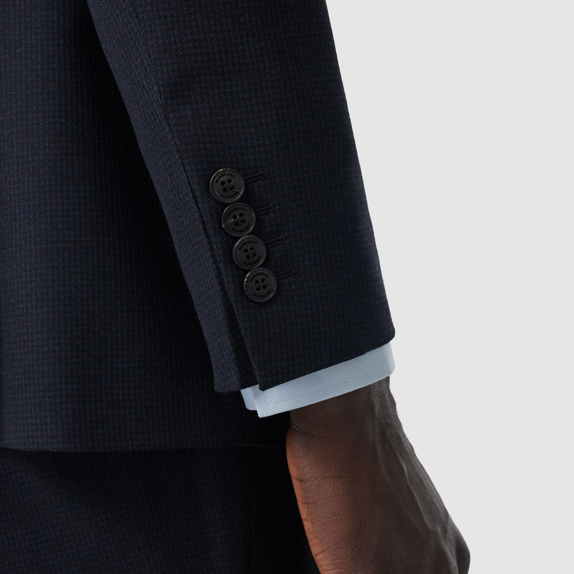 English Fit Puppytooth Check Wool Suit in Dark Navy - Men | Burberry - gallery image 4