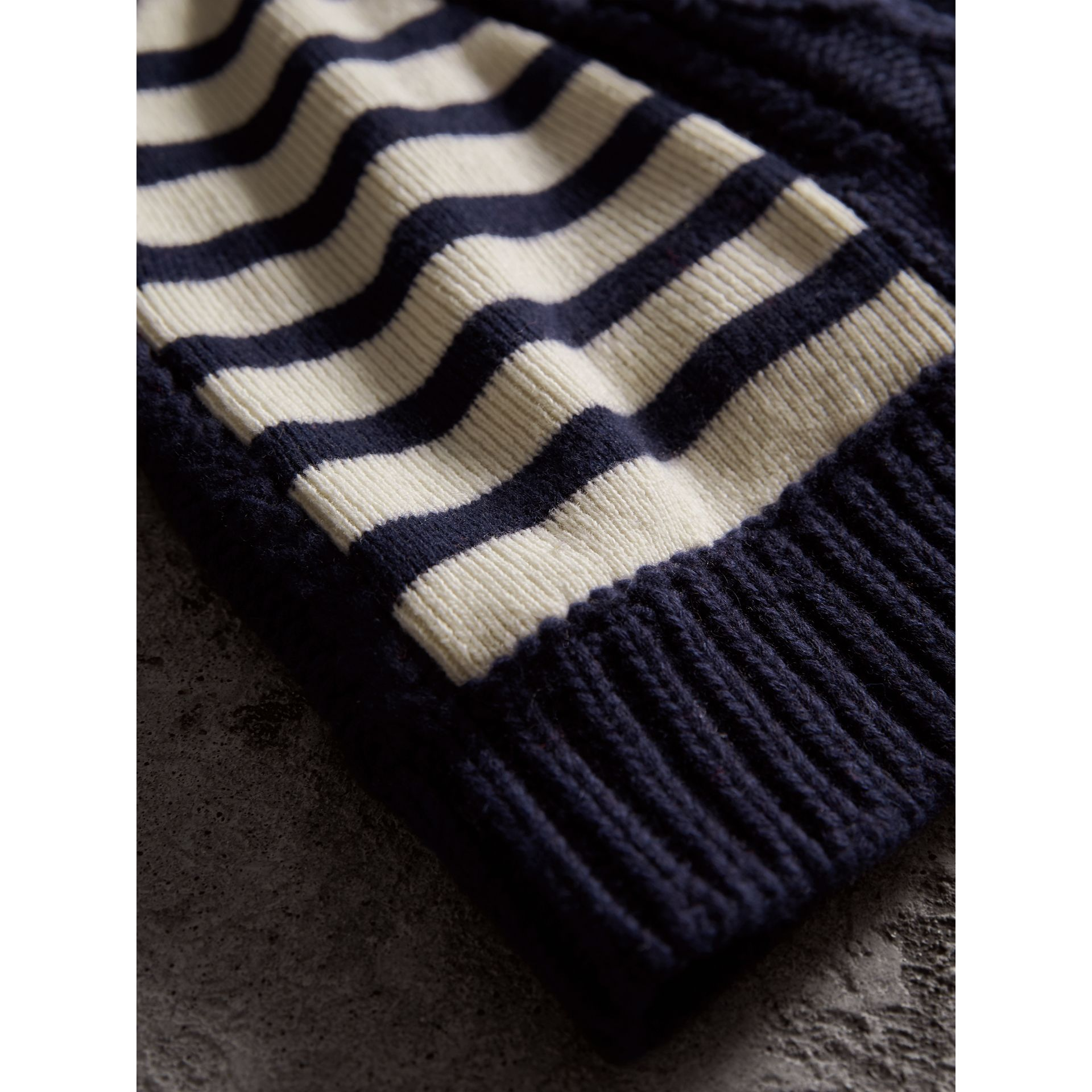 Cable Knit Striped Wool Cashmere Blend Beanie in Navy | Burberry United Kingdom - gallery image 1