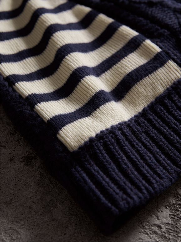 Cable Knit Striped Wool Cashmere Blend Beanie in Navy - Women | Burberry - cell image 1