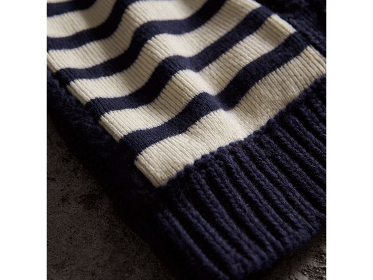 Cable Knit Striped Wool Cashmere Blend Beanie in Navy | Burberry - cell image 1