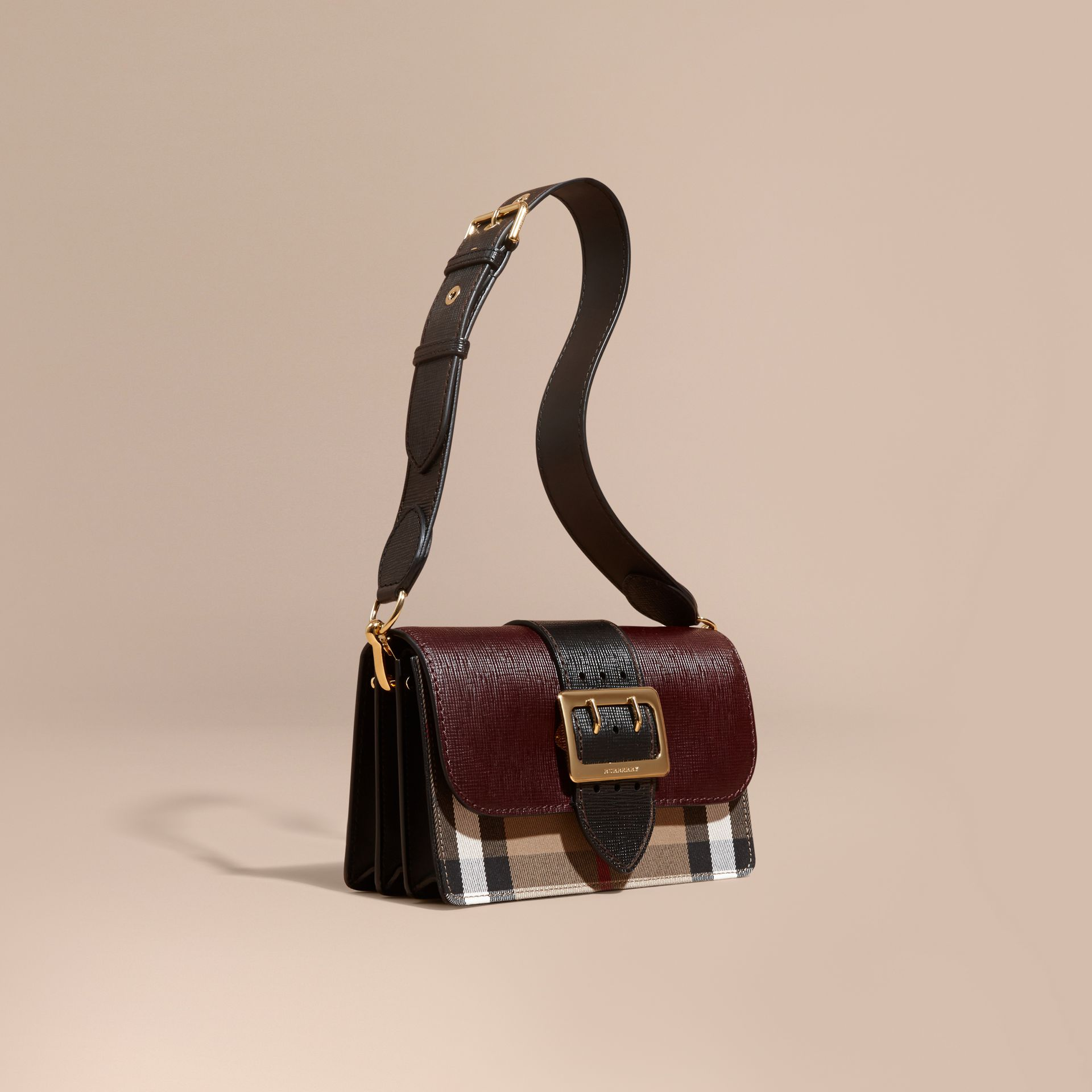 Burgundy/black The Medium Buckle Bag in House Check and Textured Leather Burgundy/black - gallery image 1