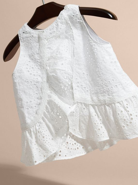 Lace Trim Sleeveless Cotton Blend Broderie Anglaise Top in White - Girl | Burberry - cell image 3