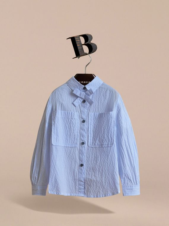 Bow Detail Striped Cotton Seersucker Shirt in Light Blue - Girl | Burberry - cell image 2