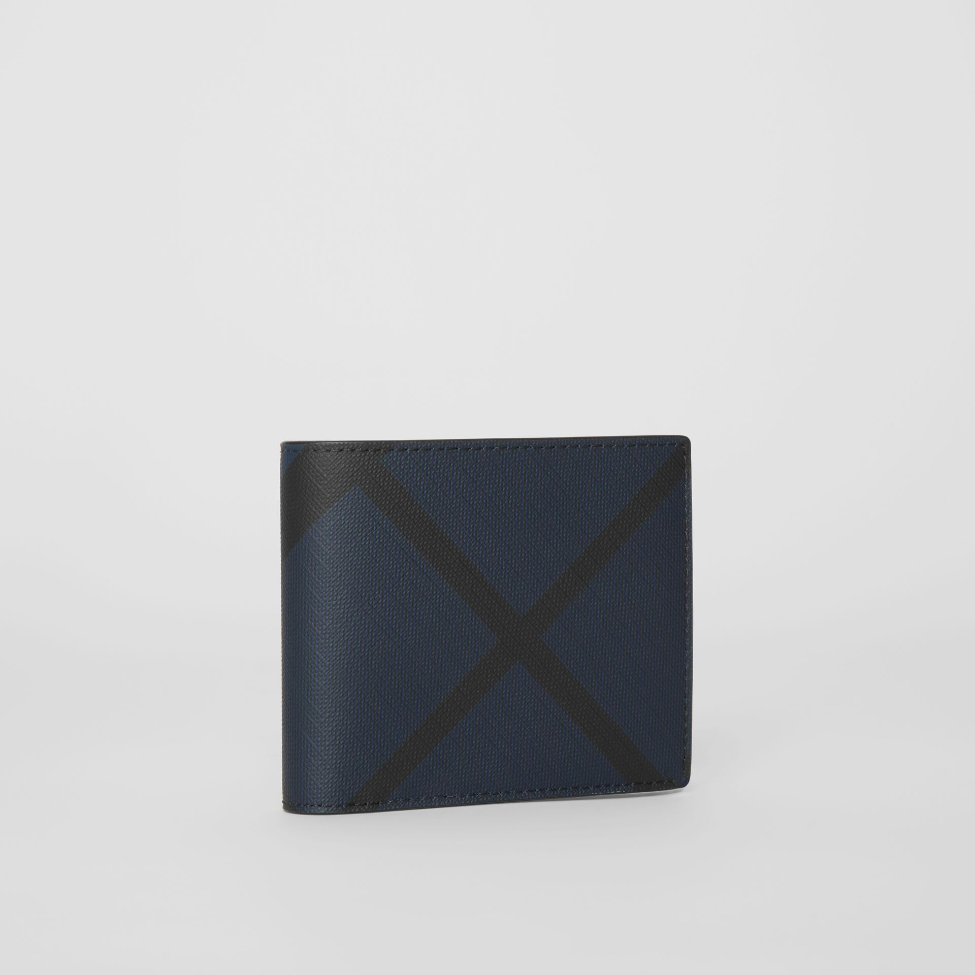 London Check Bifold Wallet with ID Card Case in Navy/black - Men | Burberry - gallery image 3
