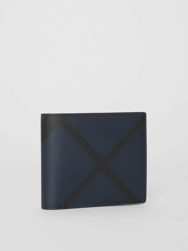 London Check Bifold Wallet with ID Card Case in Navy/black - Men | Burberry Australia - cell image 3