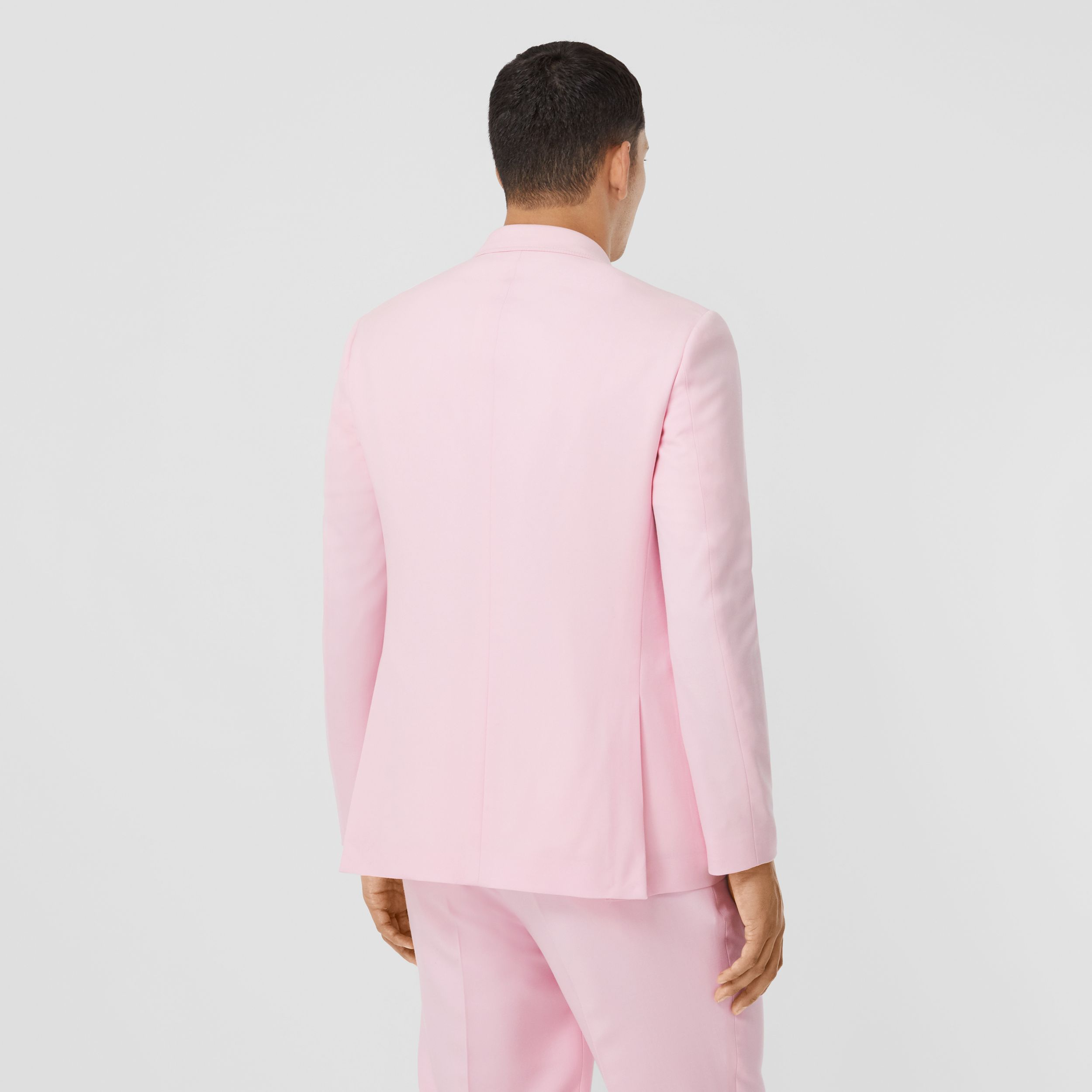 Slim Fit Press-stud Tumbled Wool Tailored Jacket in Candy Pink - Men | Burberry - 3