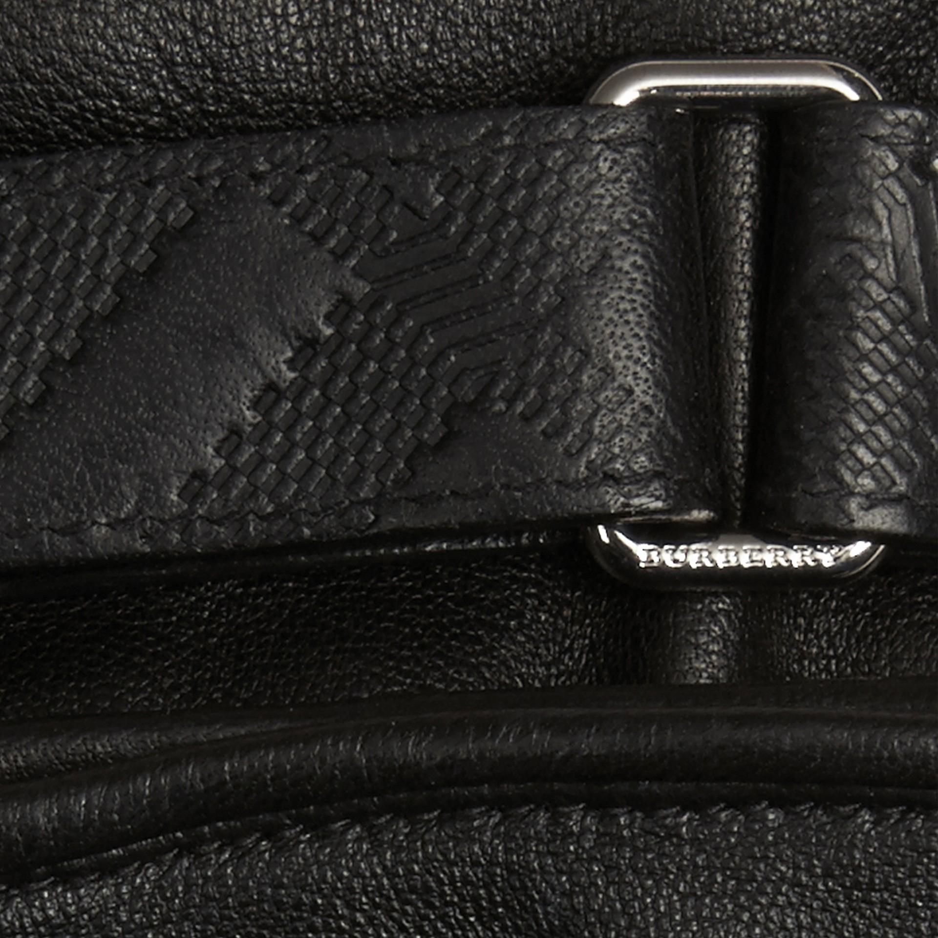 Schwarz Touchscreen-Handschuhe aus Leder mit Check-Prägung - Galerie-Bild 2