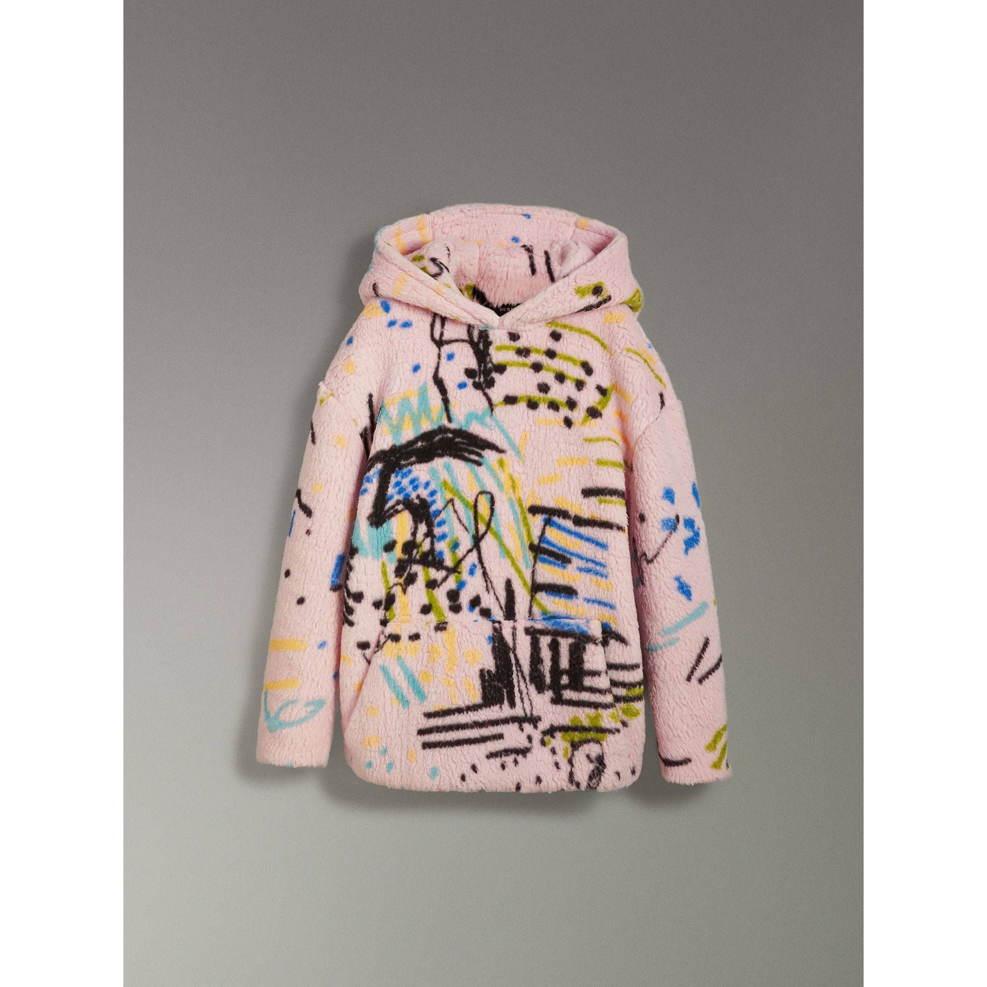 Graffiti Print Cashmere Silk Fleece Hoodie in Pale Rose - Women | Burberry Australia - gallery image 3