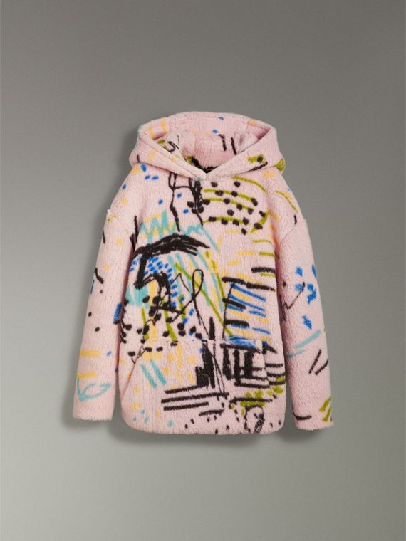 Graffiti Print Cashmere Silk Fleece Hoodie in Pale Rose - Women | Burberry Australia - cell image 3