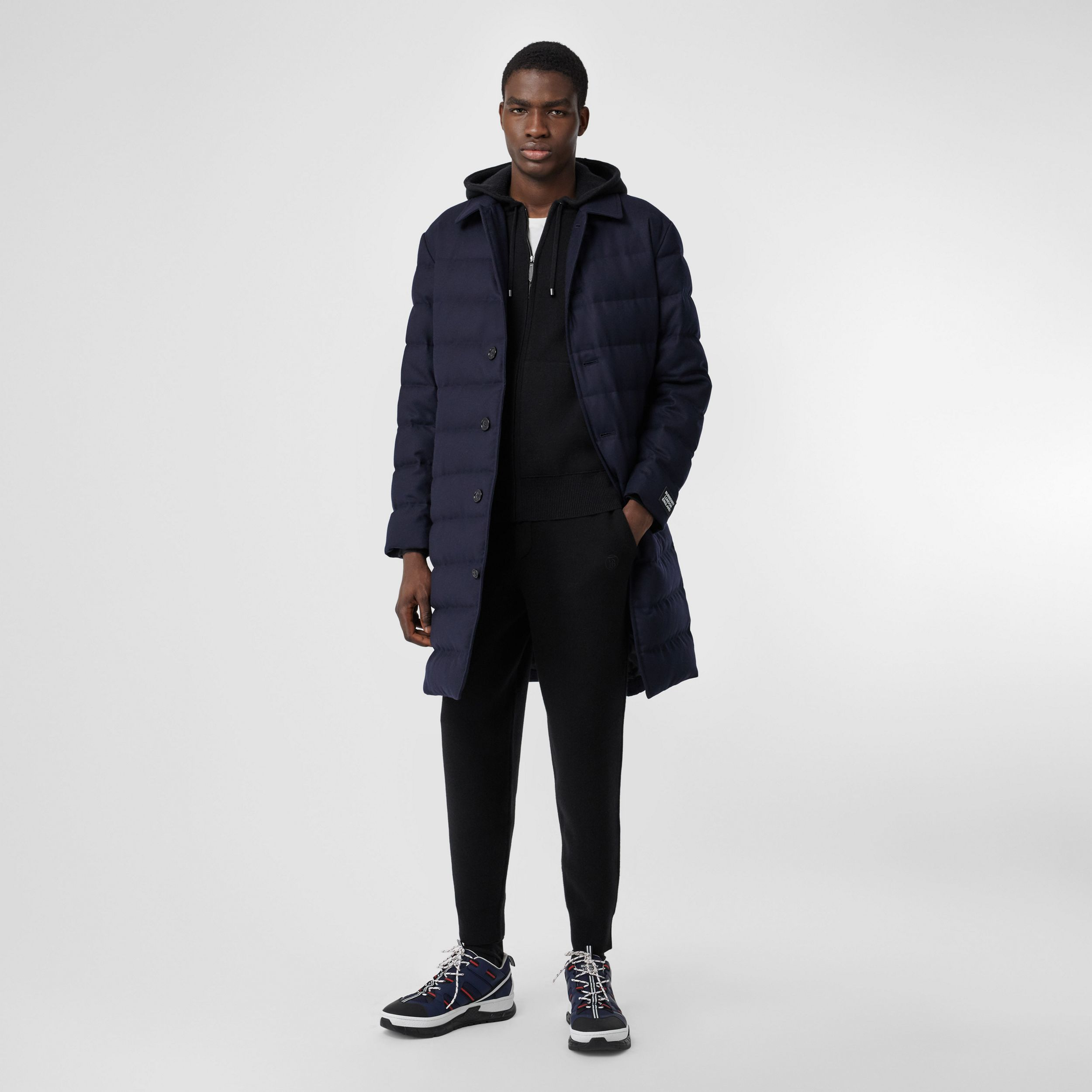 Wool Puffer Coat in Navy - Men | Burberry - 1