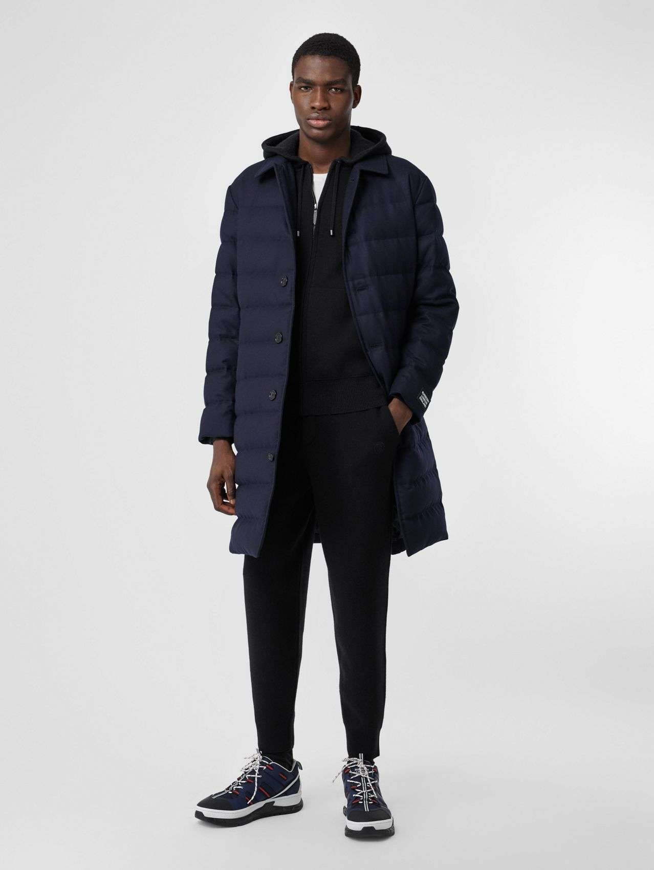 Wool Puffer Coat in Navy