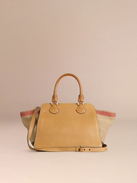 Saddle brown Medium Canvas Check and Leather Tote Bag - cell image 2