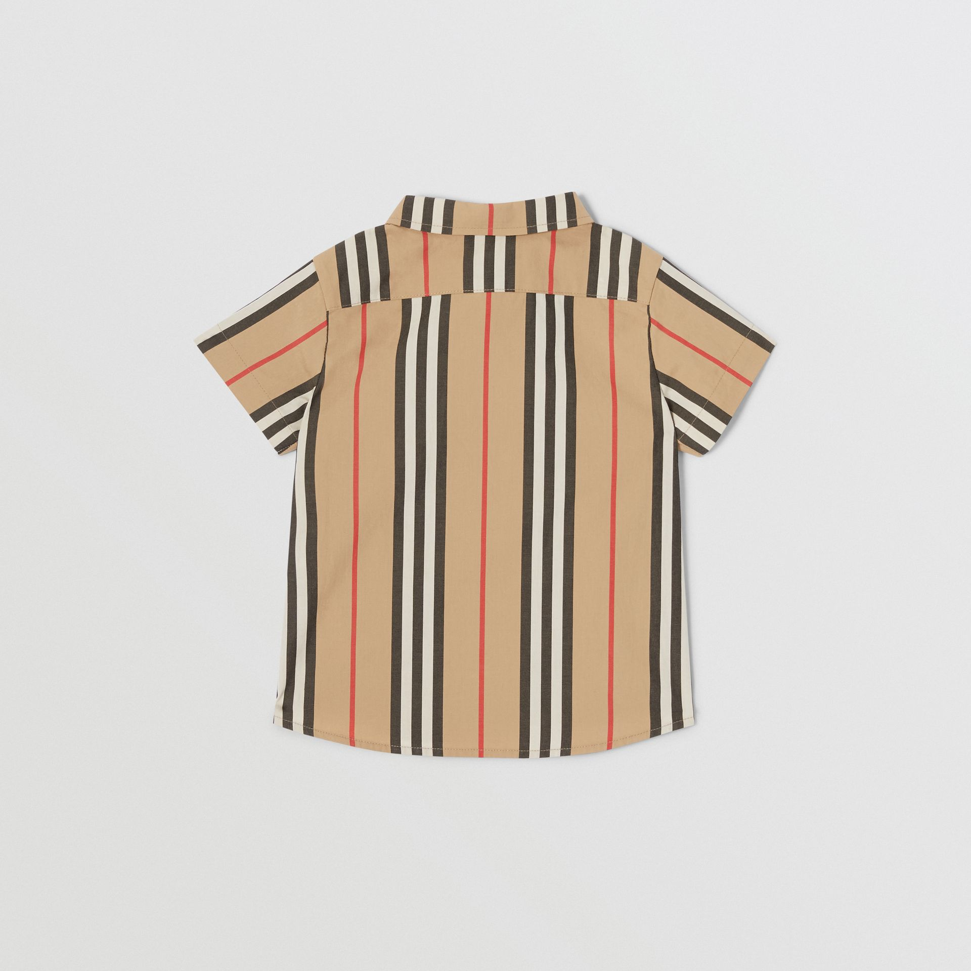 Short-sleeve Icon Stripe Cotton Poplin Shirt in Archive Beige - Children | Burberry United States - gallery image 3