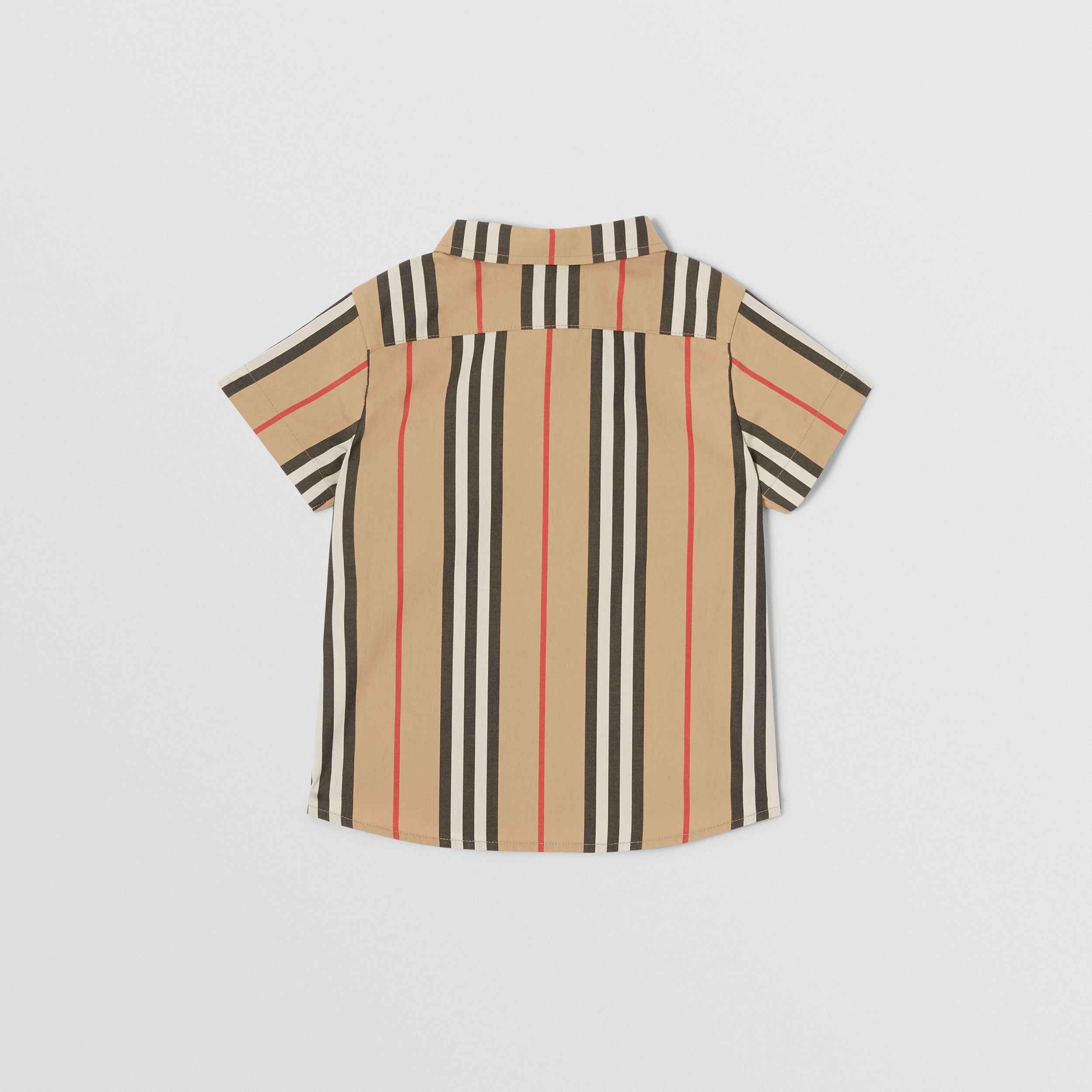 Short-sleeve Icon Stripe Cotton Poplin Shirt in Archive Beige - Children | Burberry - 4