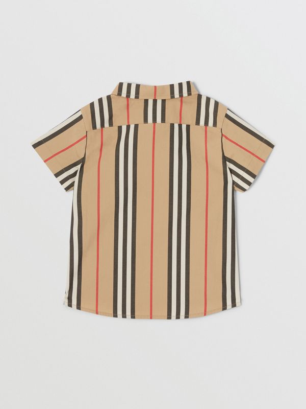 短袖標誌性條紋棉府綢襯衫 (典藏米色) - 童款 | Burberry - cell image 3