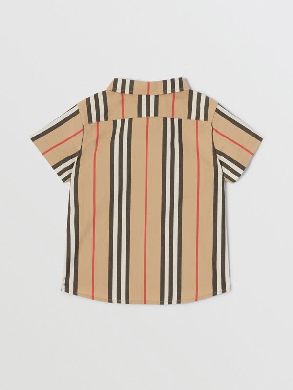 Short-sleeve Icon Stripe Cotton Poplin Shirt in Archive Beige - Children | Burberry - cell image 3