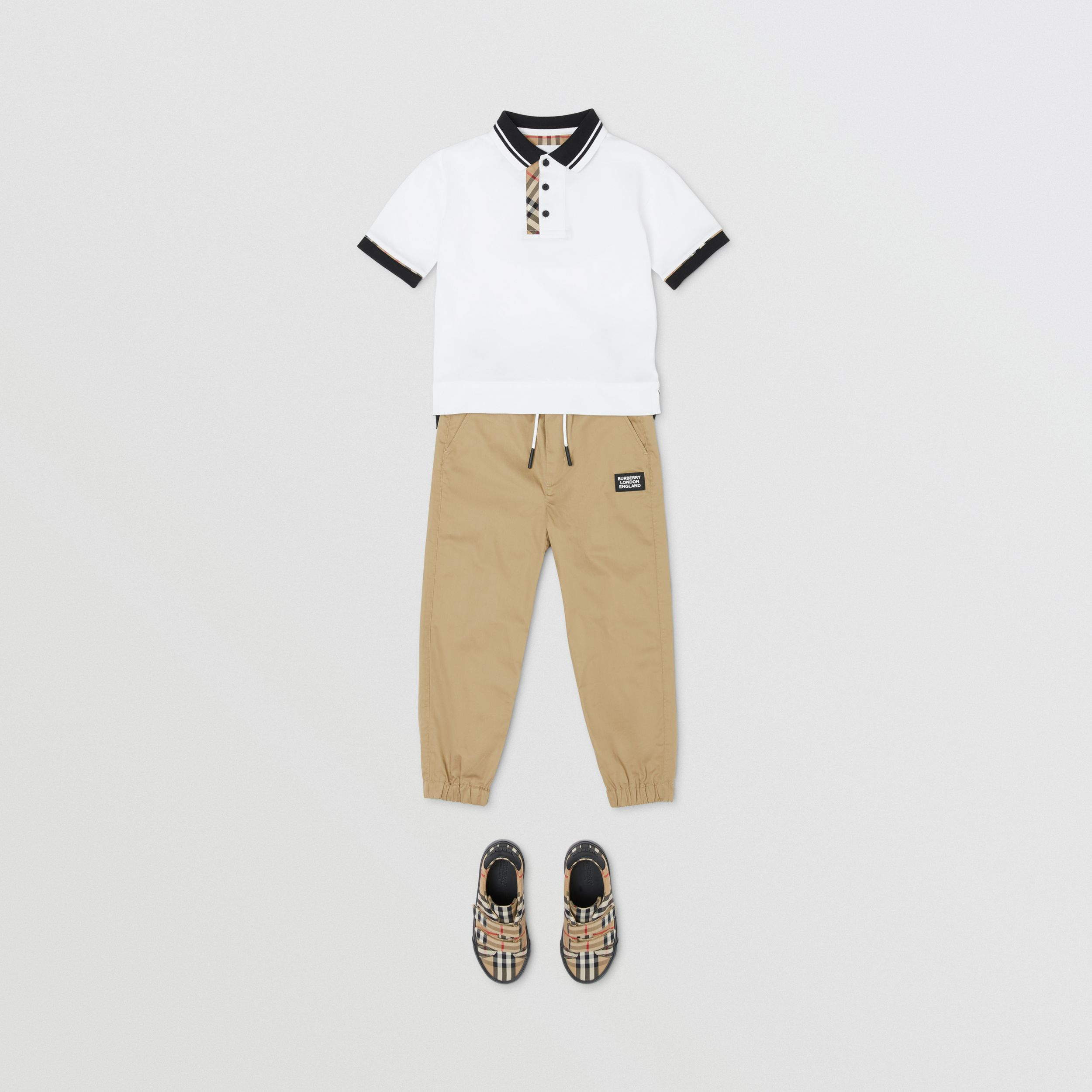 Vintage Check Trim Cotton Polo Shirt in White | Burberry - 4
