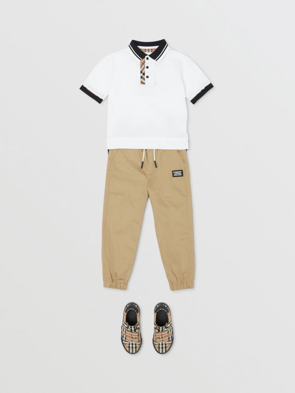 Vintage Check Trim Cotton Polo Shirt in White | Burberry - cell image 3
