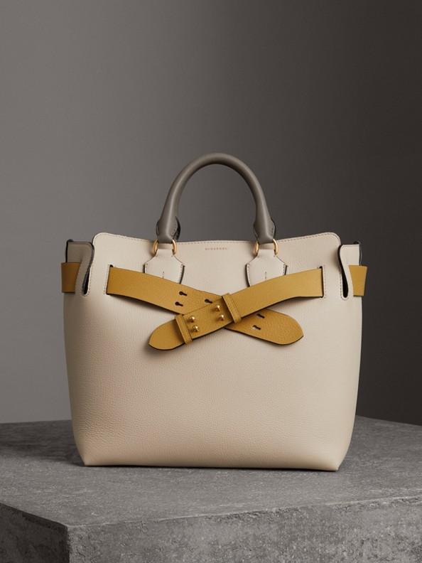 Трехцветная сумка Belt, средний размер (Песочный / Желто-синий)