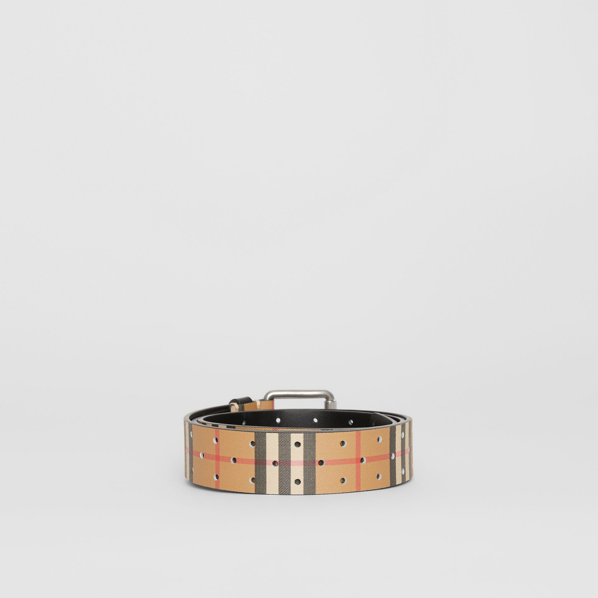 Perforated VIntage Check Leather Belt in Antique Yellow - Men | Burberry Australia - gallery image 4