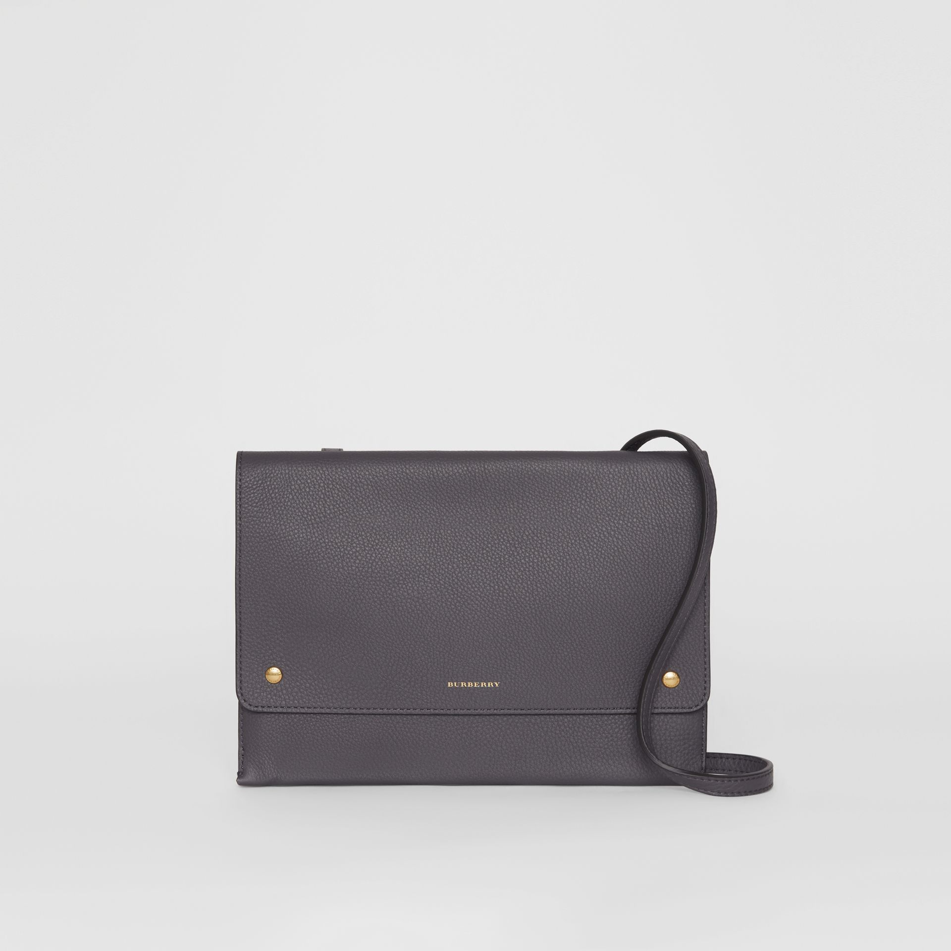 Leather Pouch with Detachable Strap in Charcoal Grey - Women | Burberry Canada - gallery image 0