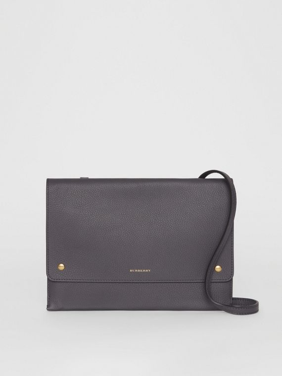 Leather Envelope Crossbody Bag in Charcoal Grey