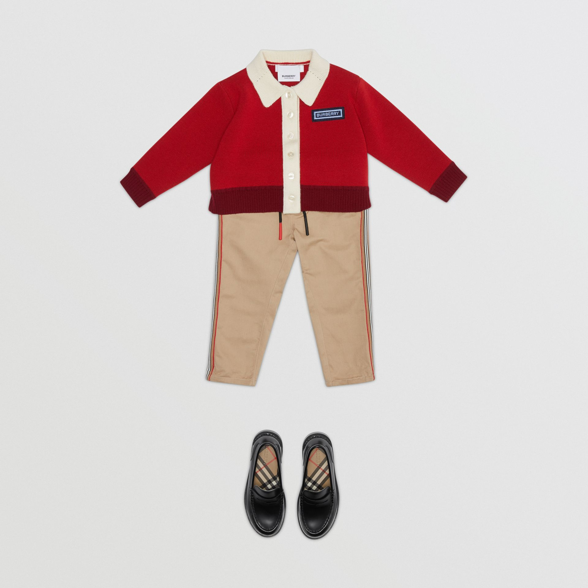 Pantalon chino en coton à rayures iconiques (Miel) - Enfant | Burberry - photo de la galerie 2