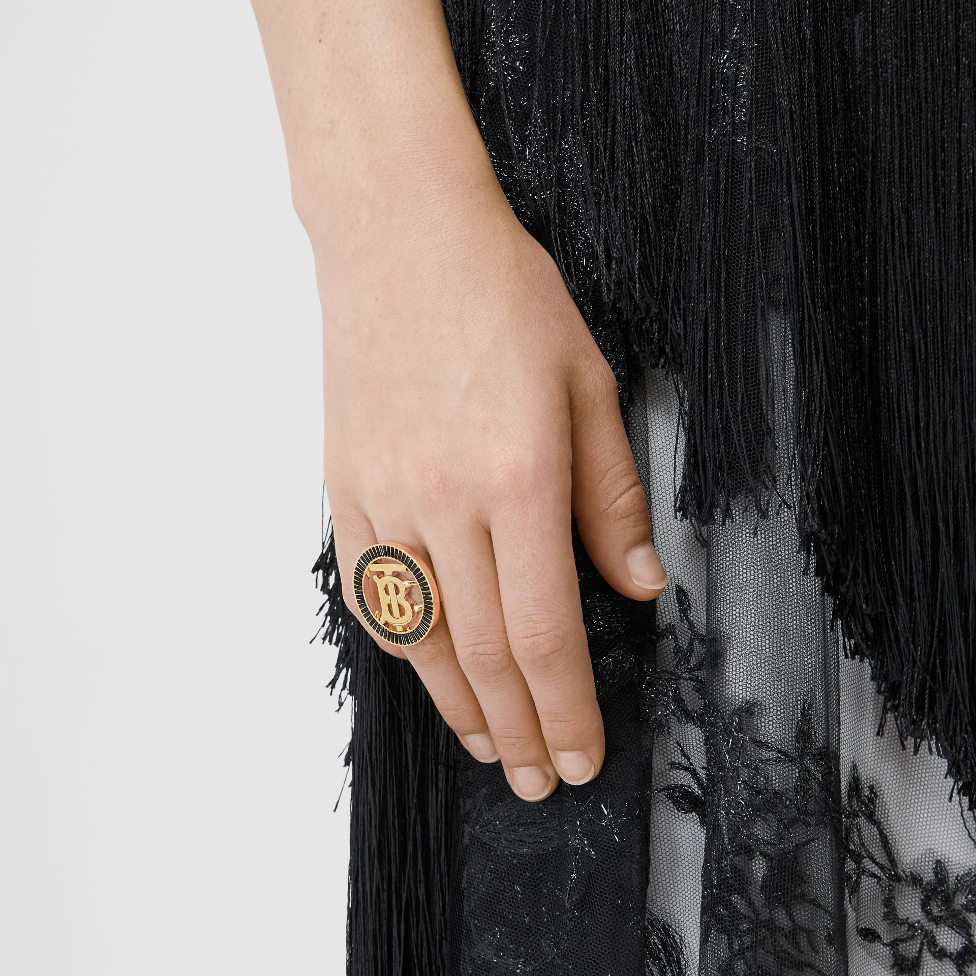 Crystal Detail Gold-plated Monogram Motif Ring in Jet Black - Women | Burberry - gallery image 1