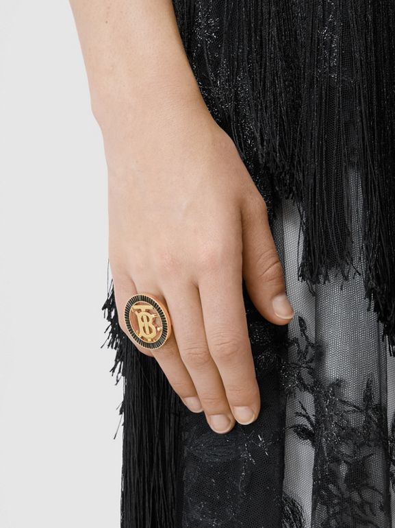 Crystal Detail Gold-plated Monogram Motif Ring in Jet Black - Women | Burberry - cell image 1