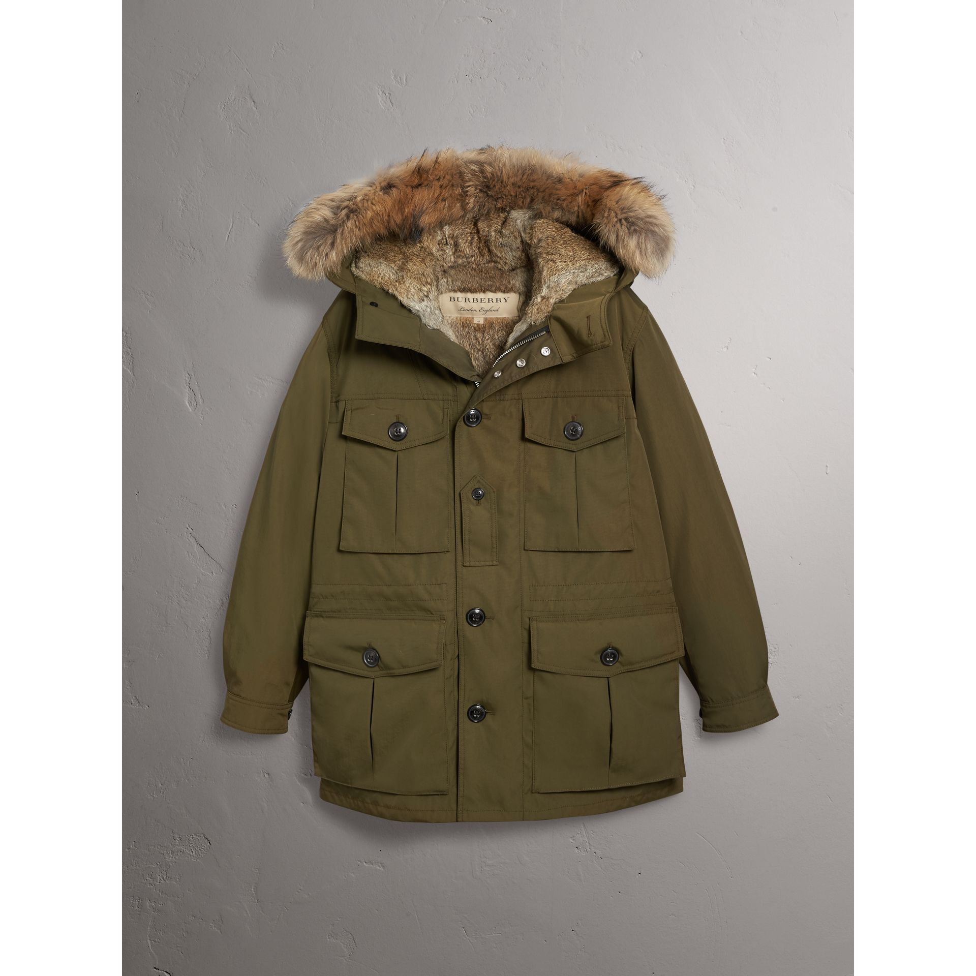 Detachable Fur Warmer and Fur Trim Hooded Parka in Military Green - Men | Burberry Singapore - gallery image 3