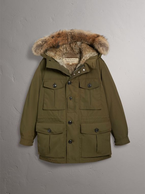 Detachable Fur Warmer and Fur Trim Hooded Parka in Military Green - Men | Burberry Singapore - cell image 3
