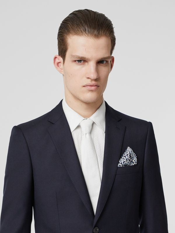 Monogram Print Silk Satin Pocket Square in Cobalt Blue - Men | Burberry United Kingdom - cell image 2