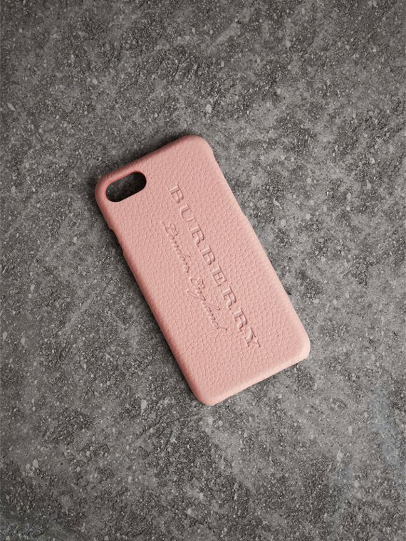 London Leather iPhone 7 Case in Pale Ash Rose - Women | Burberry