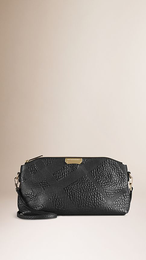 Black Small Embossed Check Leather Clutch Bag - Image 1