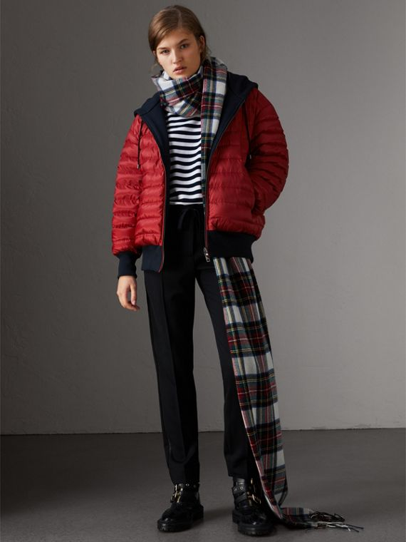 Reversible Down-filled Hooded Bomber Jacket in Parade Red