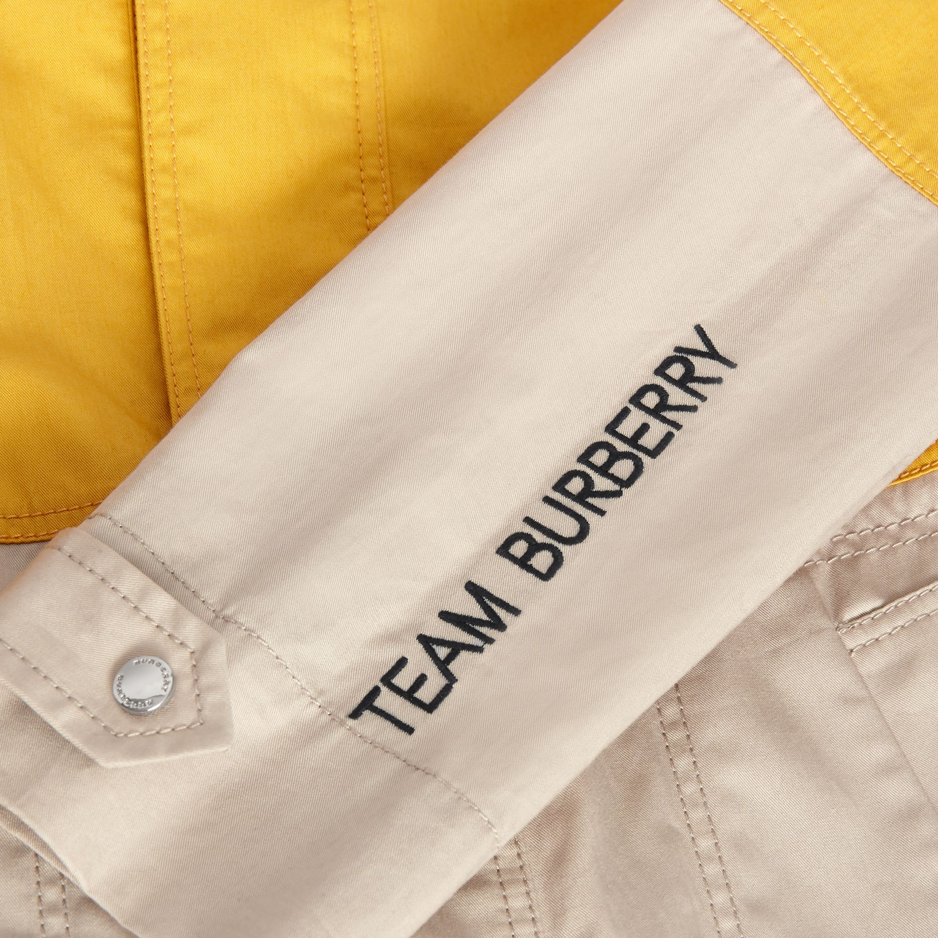 Detachable Hood Colour Block Cotton Car Coat in Gorse Yellow | Burberry - gallery image 1
