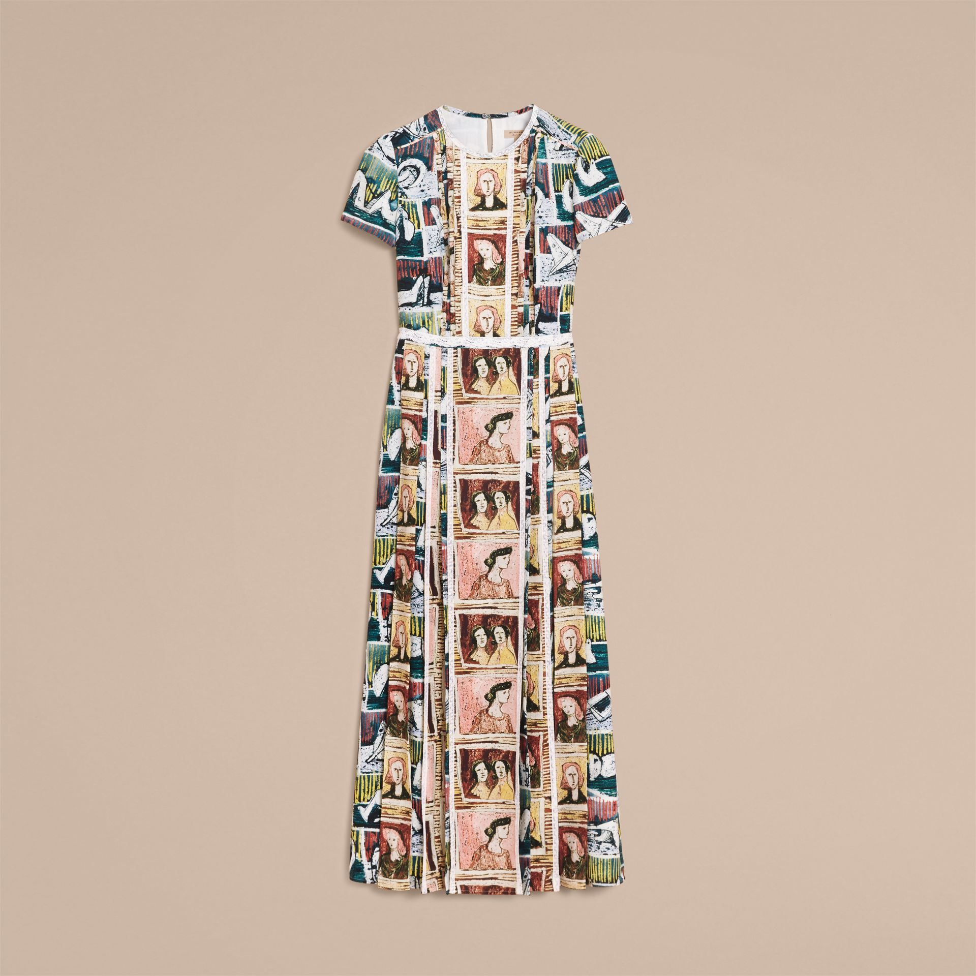 Framed Heads and Reclining Figures Print Silk Dress in Umber Brown - Women | Burberry - gallery image 4