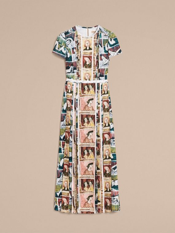 Framed Heads and Reclining Figures Print Silk Dress in Umber Brown - Women | Burberry - cell image 3
