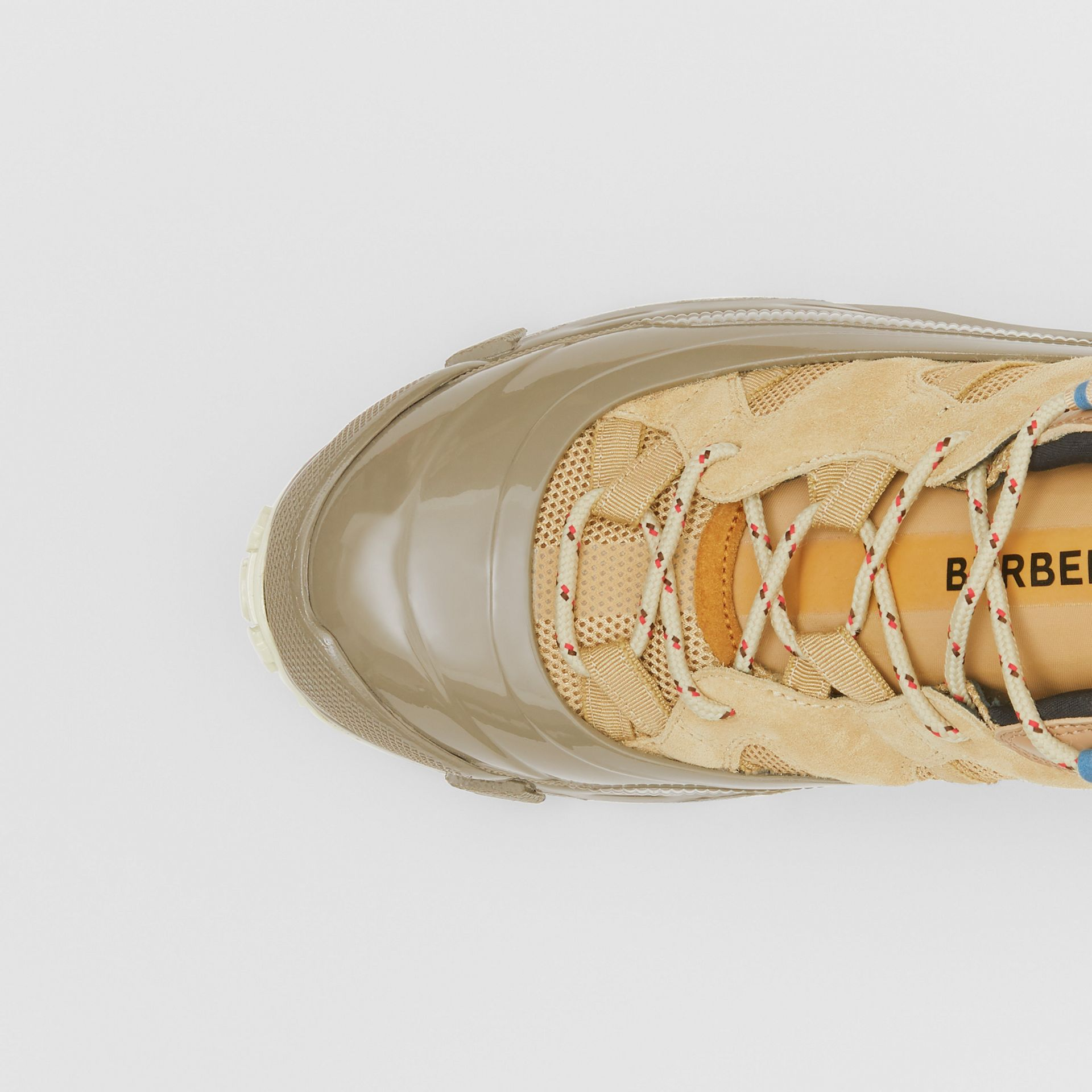 Suede, Mesh and Leather Arthur Sneakers in Beige | Burberry Australia - gallery image 1