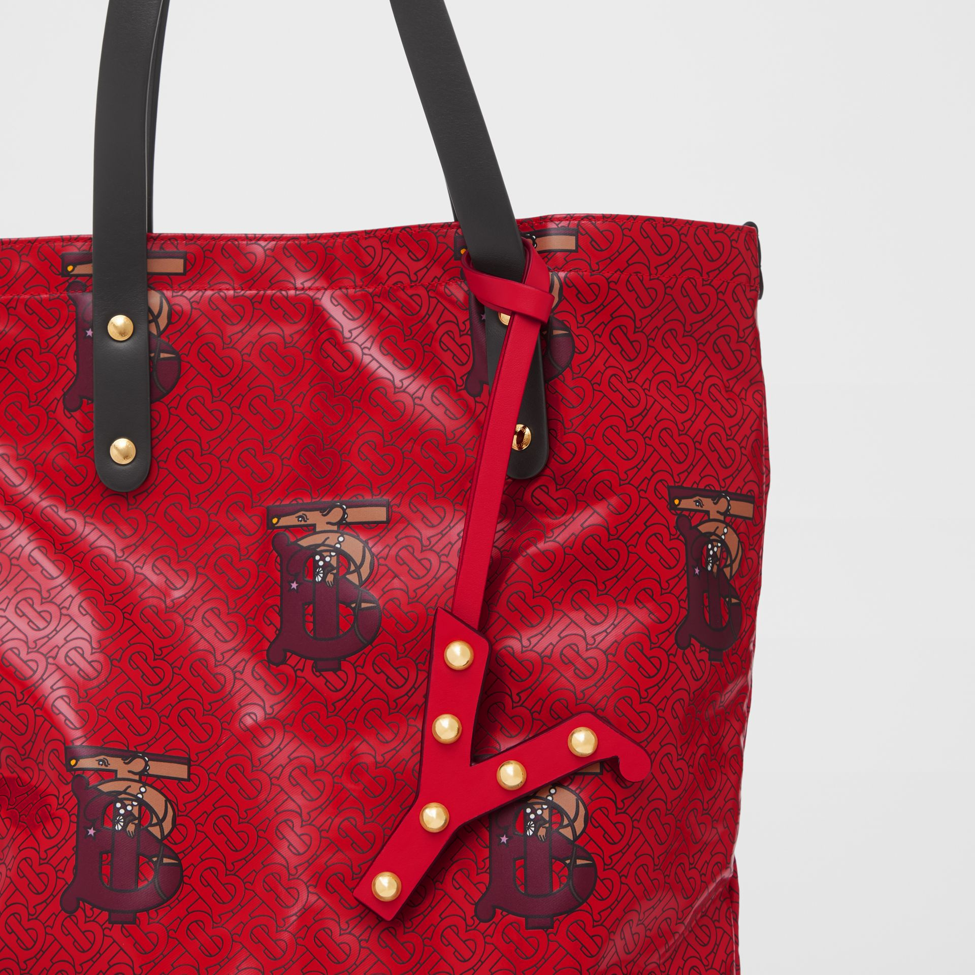 'Y' Studded Leather Alphabet Charm in Red/light Gold - Women | Burberry - gallery image 3