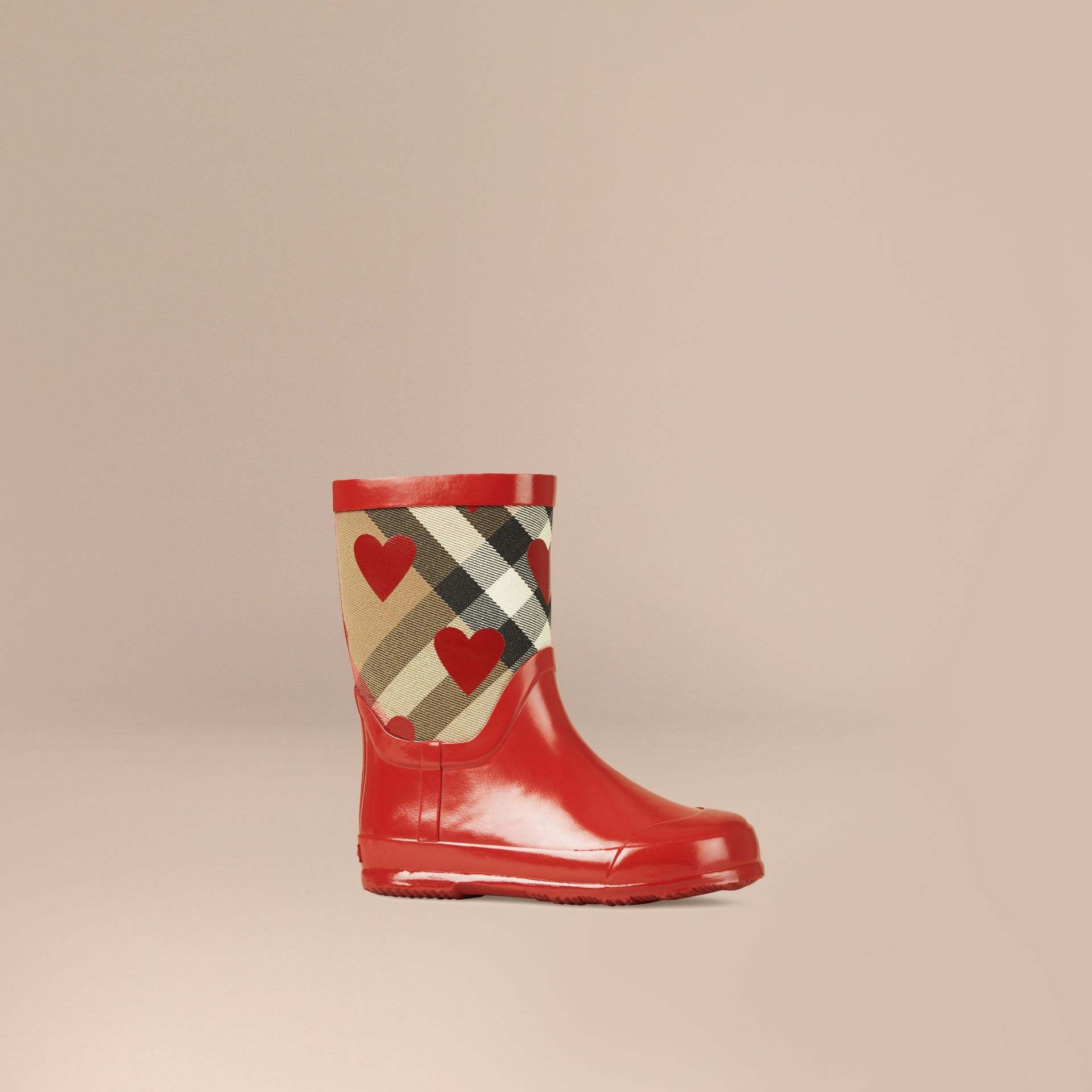 Military red Check and Heart Print Rain Boots - gallery image 1