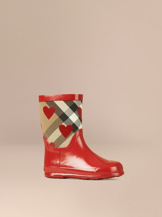 Check and Heart Print Rain Boots