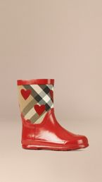 Check and Heart Print Rain Boots