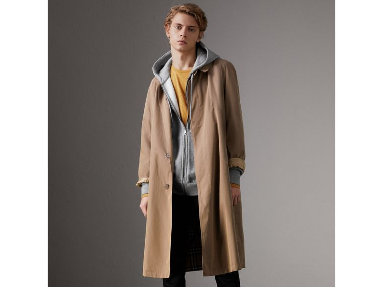Cotton Jersey Zip-front Hooded Top in Pale Grey Melange - Men | Burberry United Kingdom - cell image 4